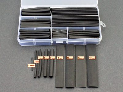 Black Heat Shrink Kit 140pcs - Size Comparisons