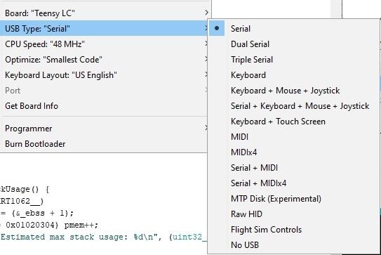 Teensy LC USB Port Type Menu