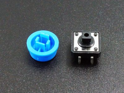 Tactile Pushbutton Blue 12mm - Disassembled