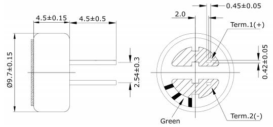 Condenser Microphone CMC-9745-44P - Dimensions