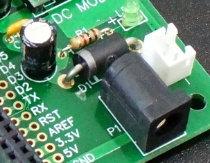 Mega 2560 Pro Green MCU Board - DC Input Section