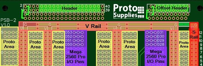 Mega 2560 Pro Green MCU Board - Proto Areas
