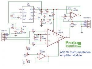 AD620 Instrumentation Amplifier Module Schematic