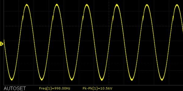AD620 Instrumentation Amplifier Scope Capture 5mV 1kHz input