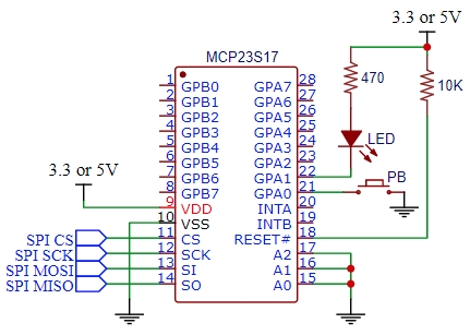 MCP23S17 Switch and LED Circuit