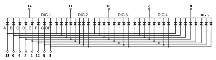 7-Segment 0.36 5-Digit Schematic