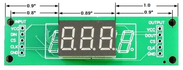 LED 7-Segment 0.36 x 3 Dimensions