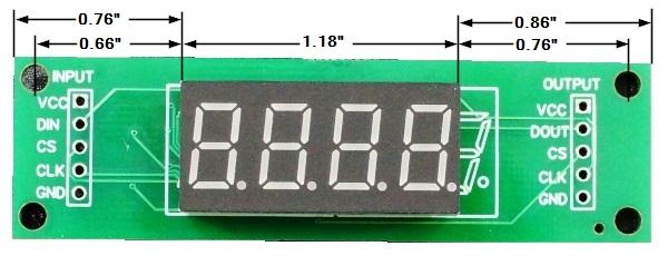 LED 7-Segment 0.36 x 4 Dimensions