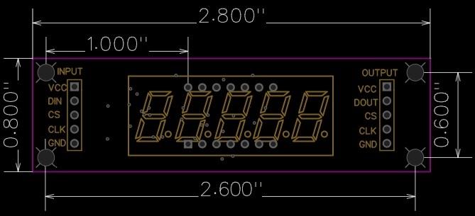MAX7219 0.36 3-5 Digit 7-Segment Display Board - Dimensions