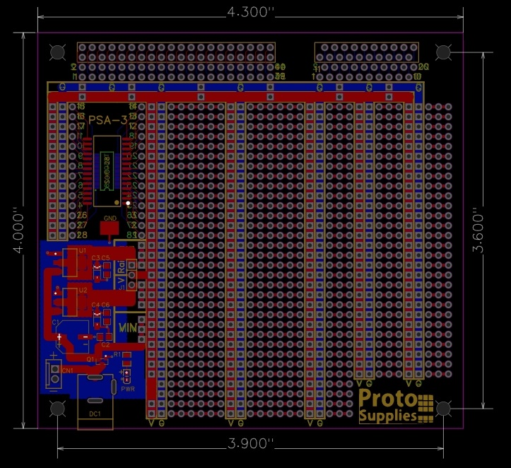 MCU Proto Board with 3.3 an 5V power - Dimensions