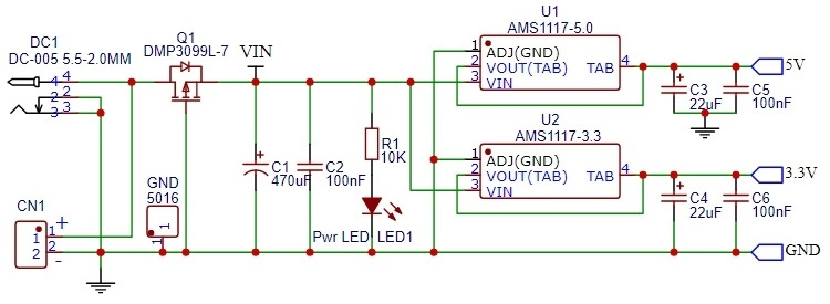 MCU Proto Board with 3.3 and 5V power - Power Section Schematic