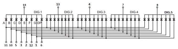 7-Segment 0.56 5-Digit Schematic