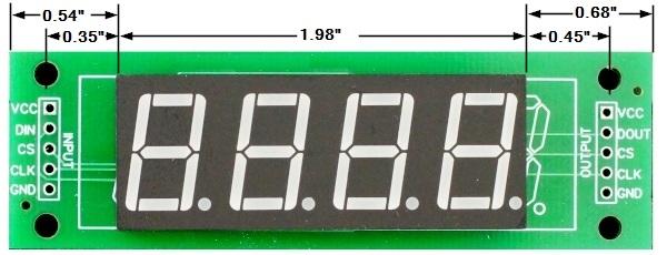 LED 7-Segment 0.56 x 4 Dimensions