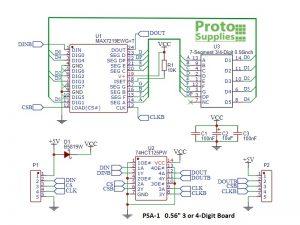 MAX7219 0.56 3 to 4-Digit 7-Segment Display Board - Schematic