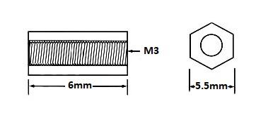 Nylon Hex Threaded Standoff M3x6