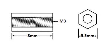 Nylon Hex Threaded Standoff M3x8