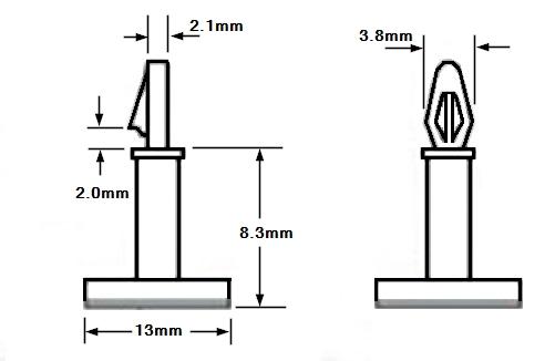 Nylon Plastic Stick On PCB Standoff 3x8 Dimensions